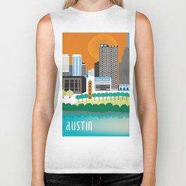 Austin, Texas - Skyline Illustration by Loose Petals Biker Tank