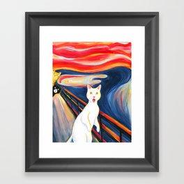 Cat surprise Framed Art Print