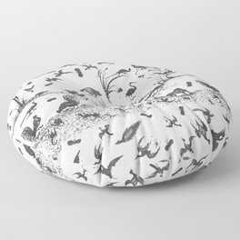 Vintage Ornament Print with Animals IV, BW Floor Pillow