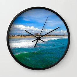 Huntington Beach Surfers Wall Clock