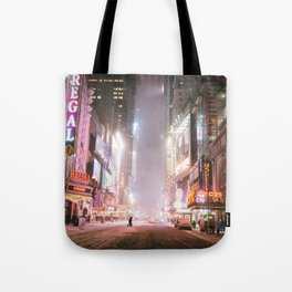 New York City Colorful Snowy Night in Times Square Tote Bag