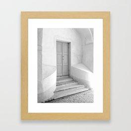 The Grey Door   Monochrome Entrance   Framed Art Print