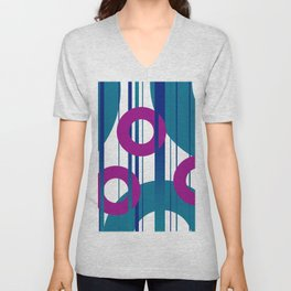 Three Rings pink with turquoise background Unisex V-Neck