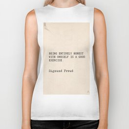 """Quote Sigmund Freud """"Being entirely honest with oneself is a good exercise."""" Biker Tank"""