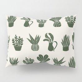Green on Ivory houseplant linocut pattern  Pillow Sham