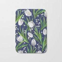 White Tulips + Baby's Breath — Navy Bath Mat