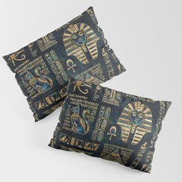 Egyptian hieroglyphs and deities -Abalone and gold Pillow Sham