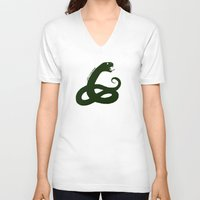 slytherin V-neck T-shirts featuring Slytherin by Caleb Cowan