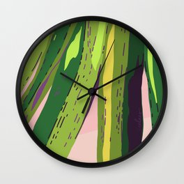 Too Close for Comfort - Tropical Palm Leaves Illustration Wall Clock