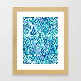 AQUA FRINGE TRIBAL Ikat Watercolor Framed Art Print