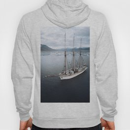 Sailing Ship in front of a Mountain Valley in Norway Hoody