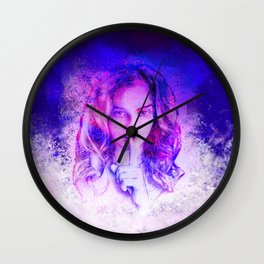 Pink and blue portrait Wall Clock