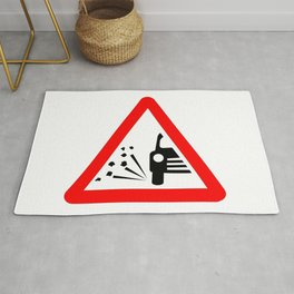 Stone Chipping Traffic Sign Isolated Rug