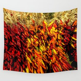 Ristras made from green, yellow, orange and red chile peppers Wall Tapestry