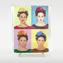 Frida Kahlo Inspired Colorful Pop Art Painting Shower Curtain