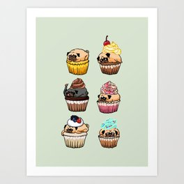 Cupcake Pugs Art Print