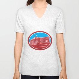 The Treasury Building Washington DC Woodcut Retro Unisex V-Neck