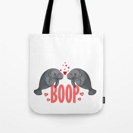 Cute Manatee Kiss Boop Florida Sea Cow Girl Gift Tote Bag