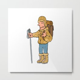 Mountain climber cartoon character Metal Print