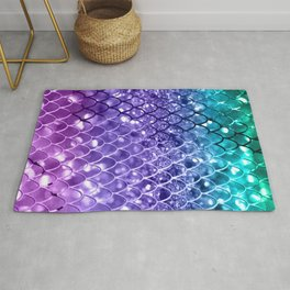 Mermaid Scales on Unicorn Girls Glitter #19 #shiny #decor #art #society6 Rug