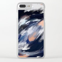 storm's eye - an abstract painting in peach, blue, white and black. Clear iPhone Case