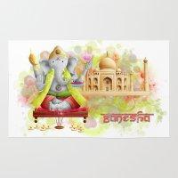 ganesha Area & Throw Rugs featuring Ganesha by Moeraki Spirit