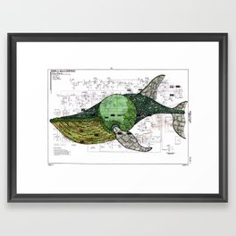 Moby-Dick page 131, the Fin-Back Whale by Matt Kish Framed Art Print