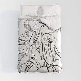 Hokusai, a woman and a shamisen -manga, japan,hokusai,japanese,北斎,ミュージシャン Comforters