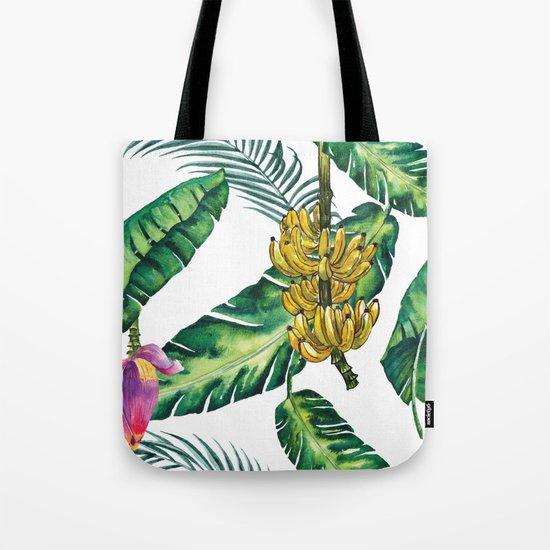 watercolor banana leaves Tote Bag