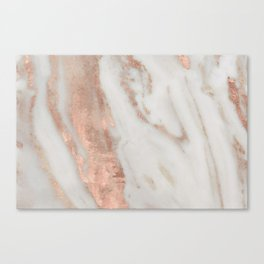 Marble Rose Gold Shimmery Marble Canvas Print