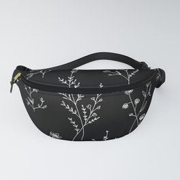 New Black Wildflowers Fanny Pack