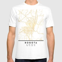 BOGOTA COLOMBIA CITY STREET MAP ART T-shirt