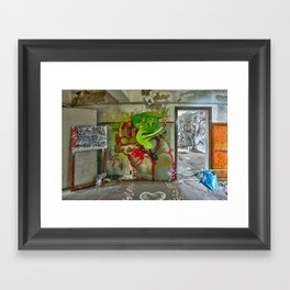 riding the rocket of doom Framed Art Print