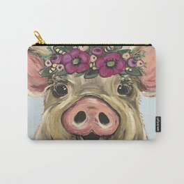 Pig Painting, Flower Crown Pig, Cute Farm Animal Carry-All Pouch