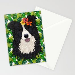 Tropical Border Collie Stationery Cards