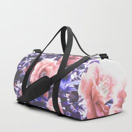Wild Roses - Ultra Violet and Coral #decor #floral #buyart Duffle Bag