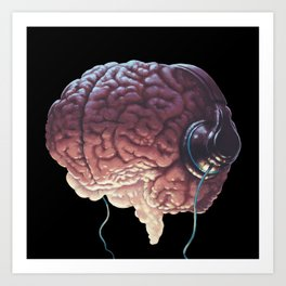 Human Brain With Head Phones Art Print