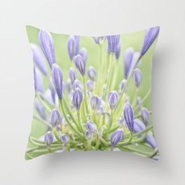 Agapanthus Blue and Green Throw Pillow