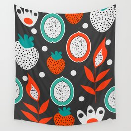 Strawberries and citrus fruits at night Wall Tapestry