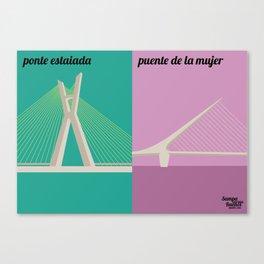 Ponte estaiada x Puente de la Mujer Canvas Print
