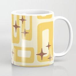 Retro Mid Century Modern Abstract Pattern 577 Yellow Brown Coffee Mug