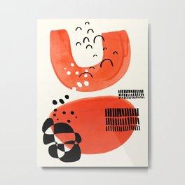 Fun Abstract Minimalist Mid Century Modern Orange Watercolor Orange Organic Shapes Metal Print