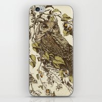 leaves iPhone & iPod Skins featuring Great Horned Owl by Teagan White