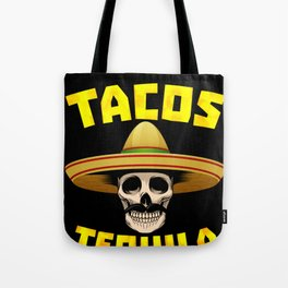 Tacos And Tequila Funny Drinking Mexican Food graphic Tote Bag
