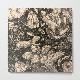 Rabbits: On Flowers Metal Print