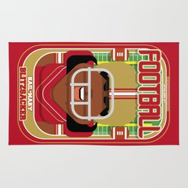 American Football Red and Gold - Hail-Mary Blitzsacker - Aretha version Rug