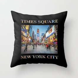 Times Square Sparkle (with type on black) Throw Pillow