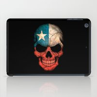 chile iPad Cases featuring Dark Skull with Flag of Chile by Jeff Bartels