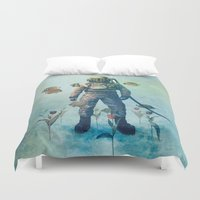 island Duvet Covers featuring Deep Sea Garden  by Terry Fan
