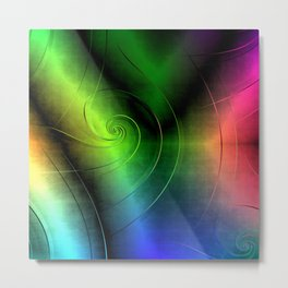 Midnight Curly Metal Print